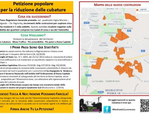 LANCIO PETIZIONE PER LA RIDUZIONE DELLA CUBATURA QUADRANTE CECCHIGNOLA /TOR PAGNOTTA / VIGNA MURATA E PIU' POTER PER ROMA